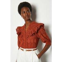 Karen Millen Broderie Short Sleeved Blouse, Orange
