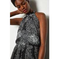 Karen Millen Midi Floral Pleated Chiffon Dress, Blackwhite