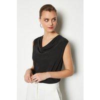 Karen Millen Silk Cowl Neck Top, Black