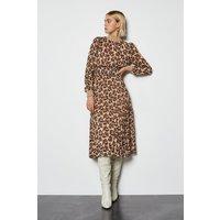 Karen Millen Animal Print Midi Dress, Brown