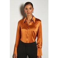 Karen Millen Collared Silk Shirt, Tan
