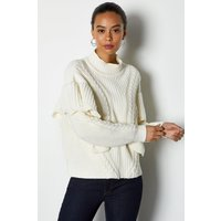 Karen Millen Chunky Rib Frill Knit Jumper, Ivory