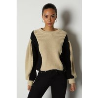 Colour Block Chunky Rib Knit Jumper Beige, Beige