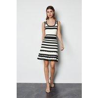 Striped Knit Scallop Trim Dress Blackwhite, Blackwhite