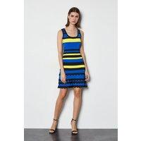Striped Knit Scallop Trim Dress Blue, Blue