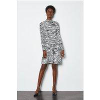 Zebra Print Jersey Flared Dress Blackwhite, Blackwhite