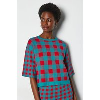Colour Pop Check Knit Jumper Red, Red