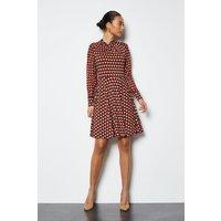 Geo Twist Neck Mix Fabric Jersey Dress Multi, Multi