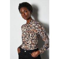 Karen Millen Smudge Twist Neck Mix Fabric Jersey Top, Animal