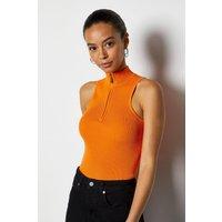 Racer Rib roll/polo neck Zip Top Orange, Orange