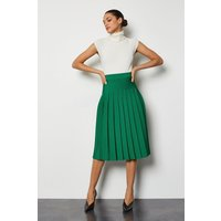 Midi Fluted Knit Skirt Green, Green