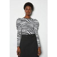 Zebra Jacquard Puff Sleeve Jumper Blackwhite, Blackwhite