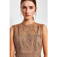 Karen Millen Cutwork Lace Shift Dress, Beige