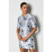 Karen Millen Jacquard Puff Sleeve Short Dress, Pale Blue