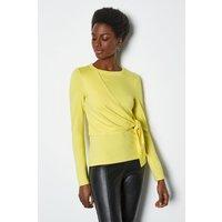 Tie Front Short Sleeve Tee Yellow, Yellow