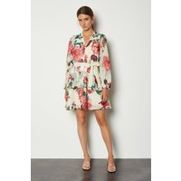 Karen Millen Rose Print Dress, Cream