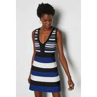 Stripe Bandage Knit Dress Navy, Navy
