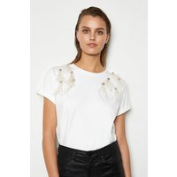 Feather Shoulder Detail Tee White, White