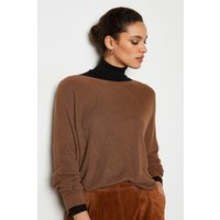 Stitch Detail Oversize Cable Rib Jumper Taupe, Taupe