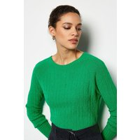 Cable Knit Crew Neck Jumper Green, Green