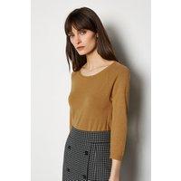 Karen Millen 3/4 Sleeve Fine Knit Jumper, Brown