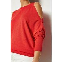Cold Shoulder Fine Gauge Knit Jumper Red, Red