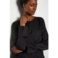 Wrap Front Blouse Black, Black