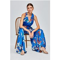 Karen Millen Watercolour Printed Jumpsuit, Blue