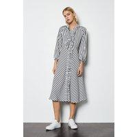 Karen Millen Striped Ruffle Front Dress, Navy