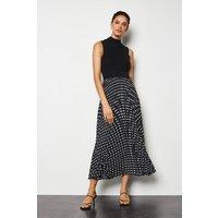 Knit Mix Pleated Spot Print Dress Black, Black