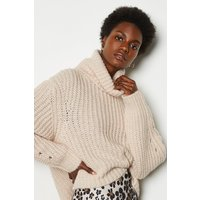 Karen Millen Alpaca Blend Oversized Roll Neck Jumper, Pink