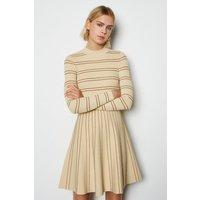 Stripe Scallop Knit Dress Natural, Natural