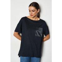 Karen Millen Oversized Satin Pocket T-Shirt, Navy