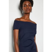 Bardot Ruched Midi Dress Navy, Navy