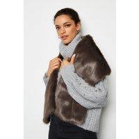 Wide Faux Fur Scarf Grey, Grey
