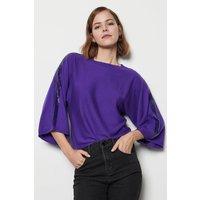 Sequin Knit Kimono Jumper Purple, Purple