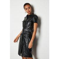 Clean Leather Utility Dress Black, Black