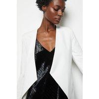 Crop Waterfall Tailored Blazer White, White