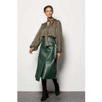Faux Leather Wrap Skirt Green, Green