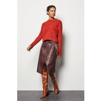 Faux-Leather Wrap Skirt Red, Red/Burgundy