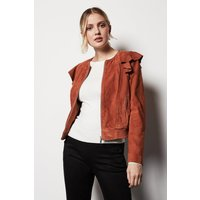 Frill Front Bomber Jacket Pink, Pink