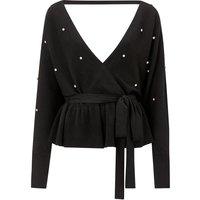 Diamonte Detail Knitted Jumper Black, Black