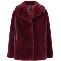 Faux Fur Jacket - Burgundy, Burgundy