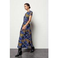 Karen Millen Leopard Palm Print Dress, Blue