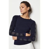 Karen Millen Crystal Sleeve Knit Jumper, Navy
