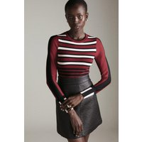 Karen Millen Bold Stripe Knit Jumper -, Red