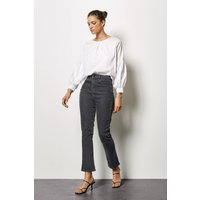 Charcoal Cropped Kick Flare Jeans Grey, Grey