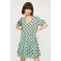 Women's Petite Mint Spot Tiered Smock Dress - 12