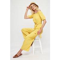Women's Yellow Spot Bardot Jumpsuit - S