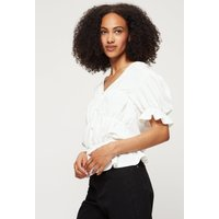 Tall Black Shirred Button Jersey Top